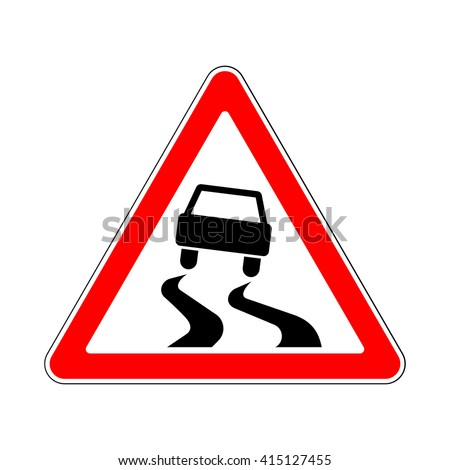 Traffic-Road Sign: Slippery or Hazardous Road Surface when Wet - stock vector