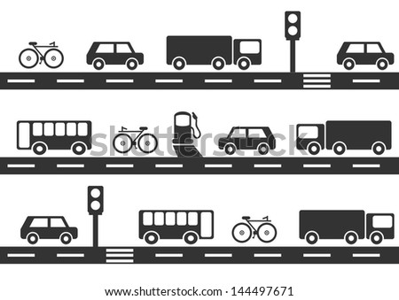 traffic seamless background - stock vector