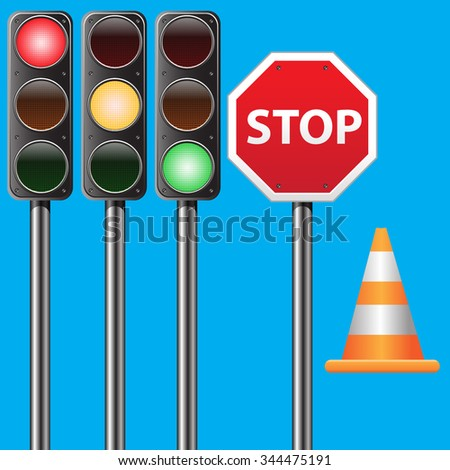 Traffic set, traffic light, stop sign and traffic cone on blue background vector illustration for traffic design background.