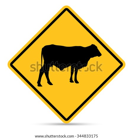 Traffic Sign, Beware of cattle sign on white background, Vector EPS10 - stock vector