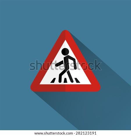 Traffic sign pedestrian crossing - stock vector