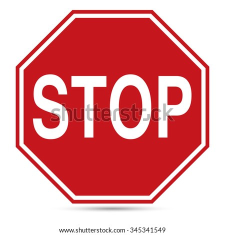 Traffic Sign, Red stop sign on white background, Vector EPS10