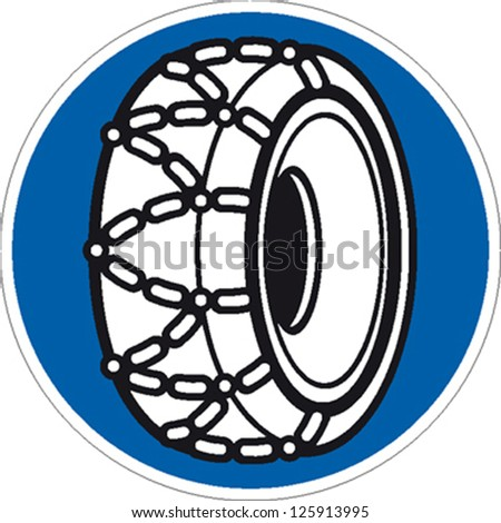 traffic sign snow chains