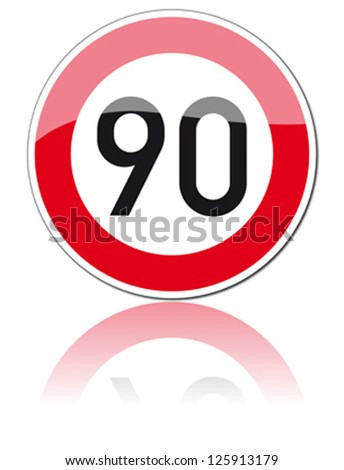 traffic sign speed limit ninety