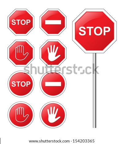 Traffic sign stop set. - stock vector