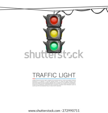 Traffic signal on a white background. Vector Illustration - stock vector