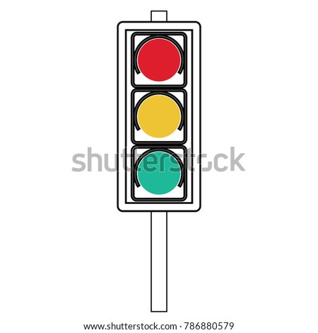 Traffic signal symbol sign. stop ahead signs traffic light ahead  warning out line  vector illustration