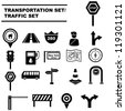 traffic signals set, transportation icon set - stock vector