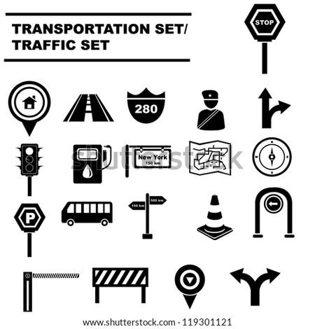traffic signals set, transportation icon set - stock vector