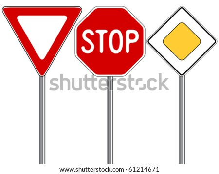 traffic signs against white background, abstract vector art illustration - stock vector