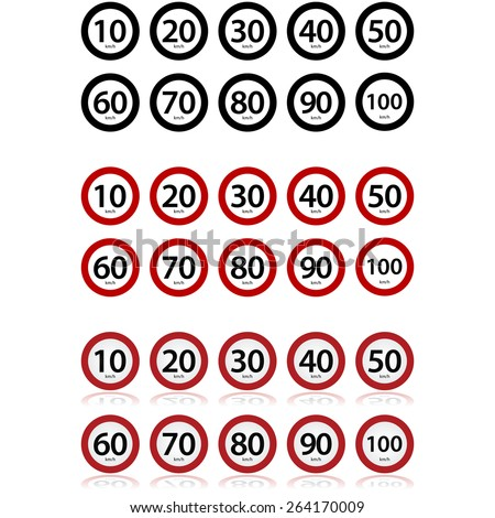 Traffic signs showing different speed limits in km/h - stock vector