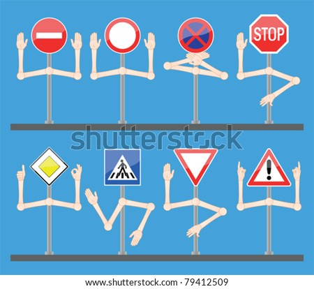 Traffic signs with hands - stock vector