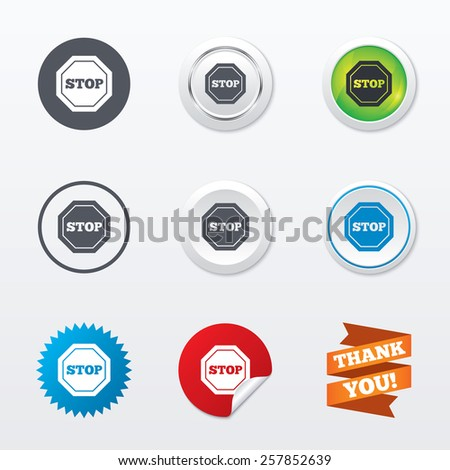 Traffic stop sign icon. Caution symbol. Circle concept buttons. Metal edging. Star and label sticker. Vector