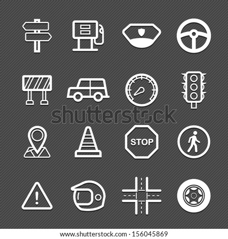 traffic symbol line icon on black background vector illustration - stock vector