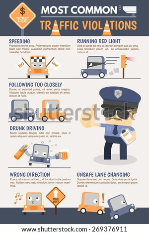 Traffic Violation Infographic - stock vector