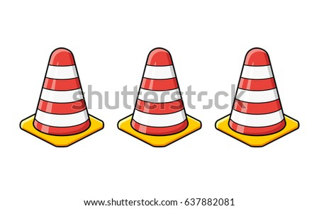 Traffic warning cones isolated.
