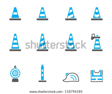Traffic warning sign icon  series in duo tone - stock vector