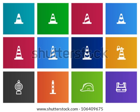 Traffic warning sign icon series in Metro style - stock vector