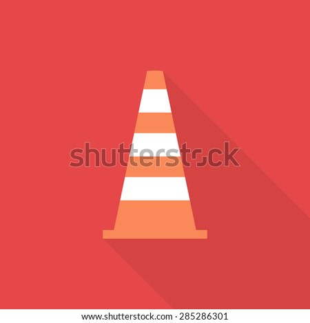 Traffic warning sign icon with long shadow, flat style - Vector - stock vector