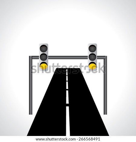 traffic yellow signal light idea vector with road  - stock vector