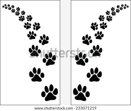 Trail left and right of footsteps of dogs, vector illustration - stock vector