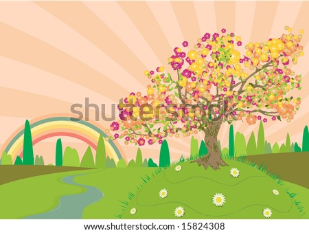 Trail through the countryside in summertime with a rainbow at the end - stock vector