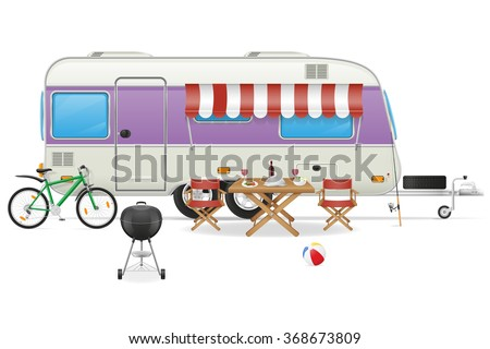 trailer camp caravan mobil home vector illustration isolated on white background - stock vector