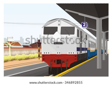 train arrive in railway station, perspective view - stock vector