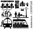 Train Commuter Station Subway Man People Passengers Stick Figure Pictogram Icon - stock photo