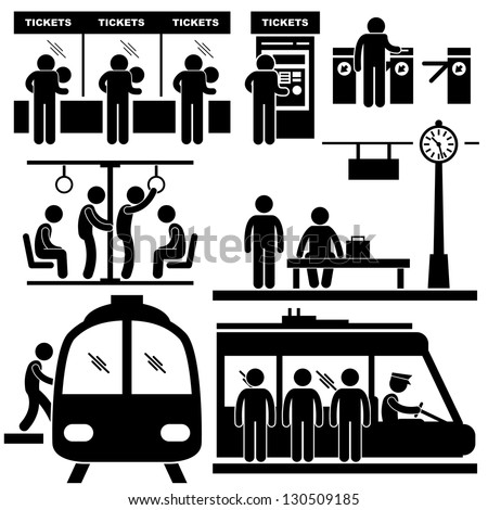 Train Commuter Station Subway Man People Passengers Stick Figure Pictogram Icon - stock vector
