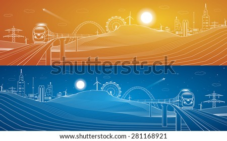 Train goes on the bridge through the mountains, city background, vector design art, day and night - stock vector