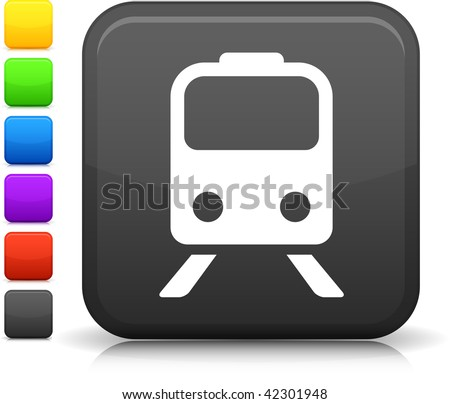 Train icon on square internet button Six color options included. - stock vector