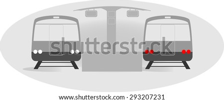 Train icon with station vector - stock vector
