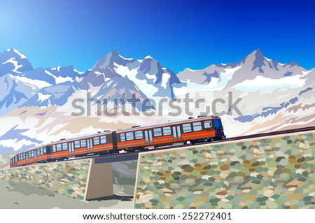 Train in high Alps mountains. EPS 10 format. - stock vector