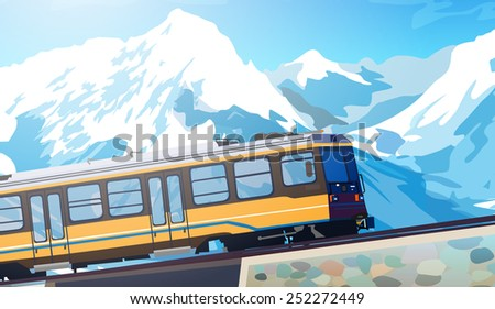 Train in high Alps mountains. Winter season. EPS 10 format. - stock vector