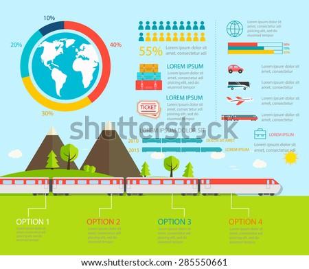 Train infographics, vector illustration. Transportation infographic with railway transport - stock vector