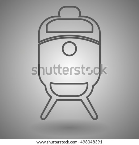 Train line icon, outline vector illustration, linear pictogram isolated on gray.