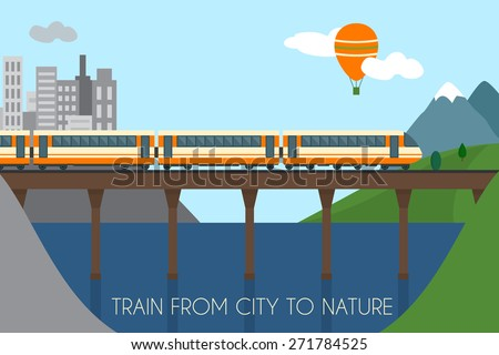 Train on railway and bridge. Train from city to nature.  Flat style vector illustration. - stock vector