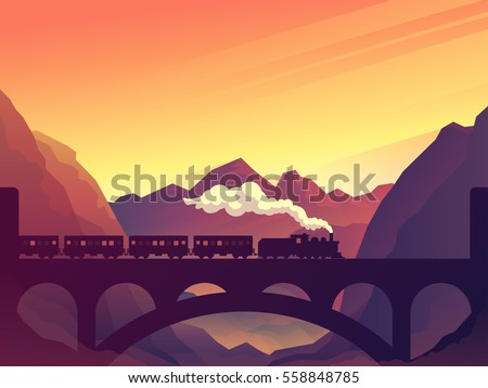 Train on railway bridge with outdoor landscape in orange and yellow sunset, dawn sun. Vector travel concept background. Train outdoor, transportation, travel. Vector illustration