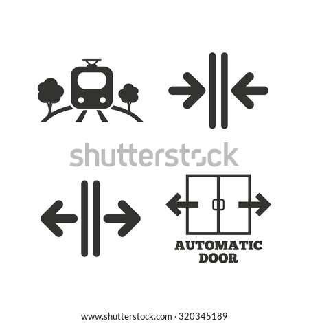 Train railway icon. Overground transport. Automatic door symbol. Way out arrow sign. Flat icons on white. Vector - stock vector