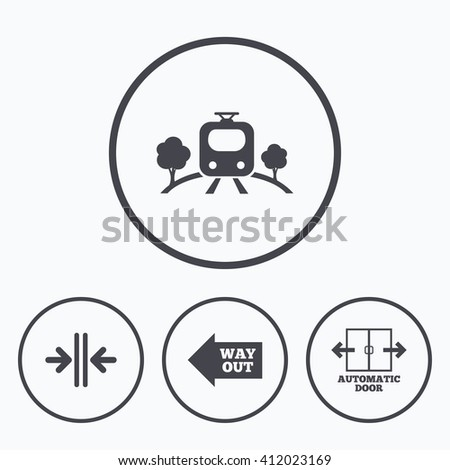 Train railway icon. Overground transport. Automatic door symbol. Way out arrow sign. Icons in circles. - stock vector