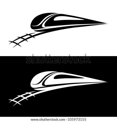 Train railway vector icon isolated on white background. Logo element, logo design. - stock vector