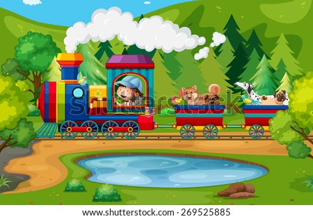 Train ride in the national park - stock vector