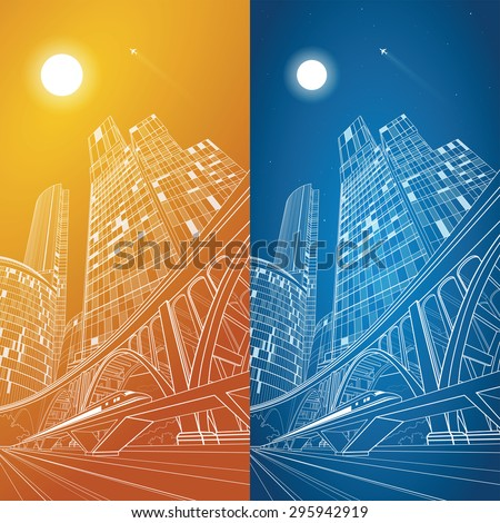 Train rides, airplane flying in the sky. Night business center, a large arched bridge, night city, vector transport illustration, day and night - stock vector