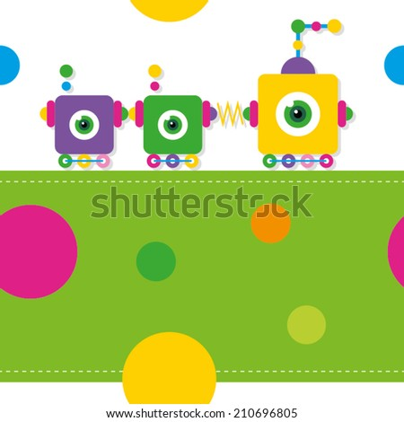 train robots pattern / greeting card - stock vector