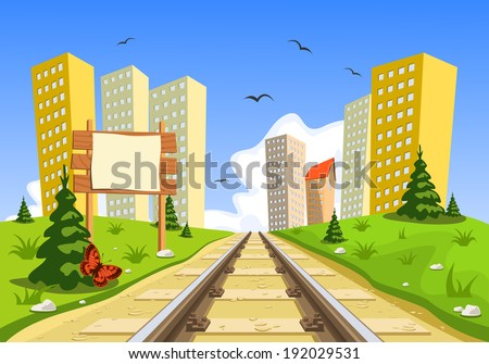 Train route into the city through the landscape - stock vector