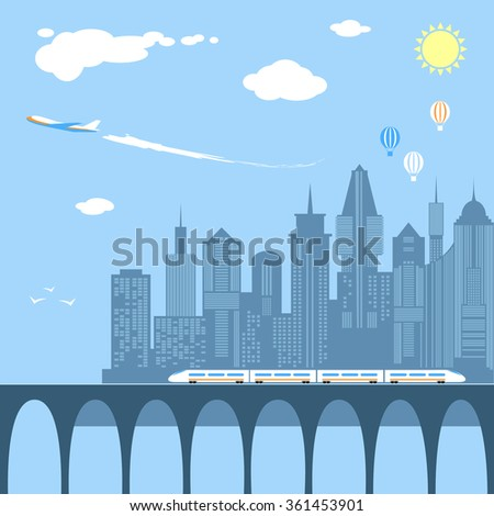 Train running through the city. Railway and bridge. Transportation over the river. Modern city infrastructure. Plane flies over the skyscrapers. Air balloons in the sky. Flat style vector illustration - stock vector