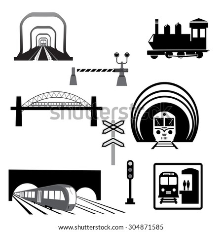 Train station and service icons.Vector set of various elements of railroad (trains) - stock vector