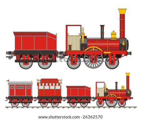 Train steam red old - stock vector