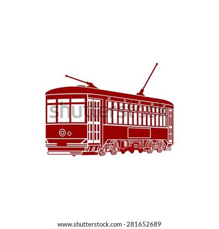 Stock Vector Train Streetcar Logo Vector Icon Template